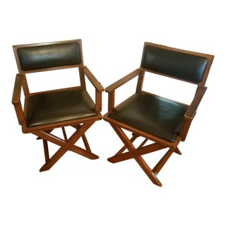 Mid-Century Modern Fixed Director Style Armchairs by Bernhardt - A Pair For Sale