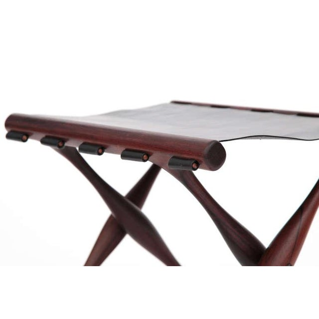 1950s Rare Poul Hundevad Rosewood Folding Stool For Sale - Image 5 of 6