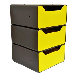 Vintage Joe Colombo Era Mid-Century Modern Molded Yellow Plastic Storage Drawers Chest