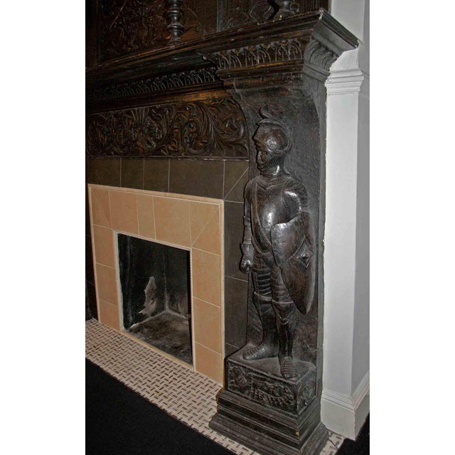 Late 19th Century German Renaissance Style Carved Chestnut Mantel For Sale - Image 4 of 11