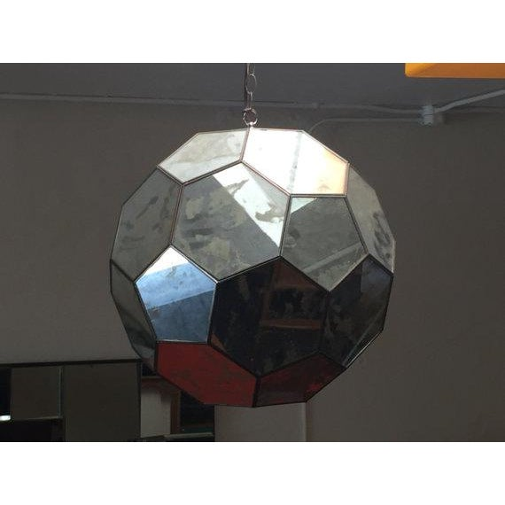 Mid-Century Mirrored Hexagon Hanging Lamp For Sale In Los Angeles - Image 6 of 6