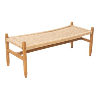 Mid 20th Century Mid-Century Rush Seat Bench For Sale