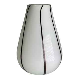 Mid-Century Italian Murano Black & White Vase For Sale