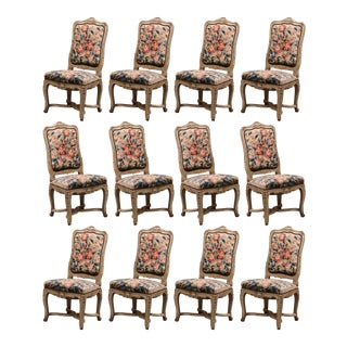 19th Century Carved Painted Dining Room Chairs With Aubusson Tapestry Set of 12 For Sale