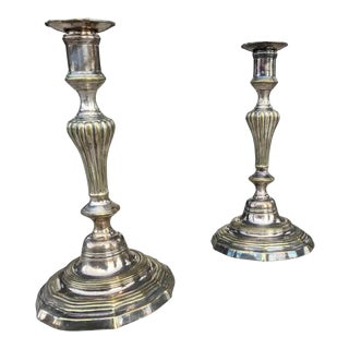 Louis XV Silvered Brass Candlesticks - a Pair For Sale