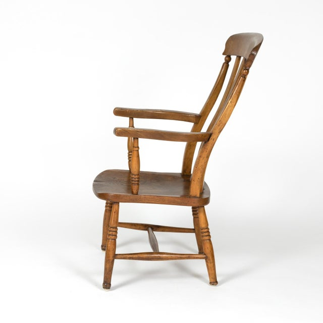 English English Elm Vertical Slat Back Armchair Circa 1890 With Turned Legs and H-Stretcher For Sale - Image 3 of 13