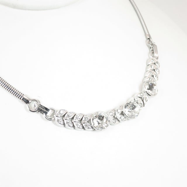 Offered here is an Engel Bros. Art Deco rhodium-plated sterling silver necklace from the 1930s. This uniquely designed...