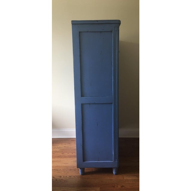 Blue Vintage French Country Painted Wooden Secretary Desk For Sale - Image 8 of 13