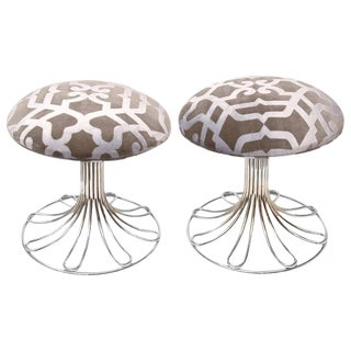 Italian Vintage Nickel Silver and Upholstered Stools - a Pair For Sale