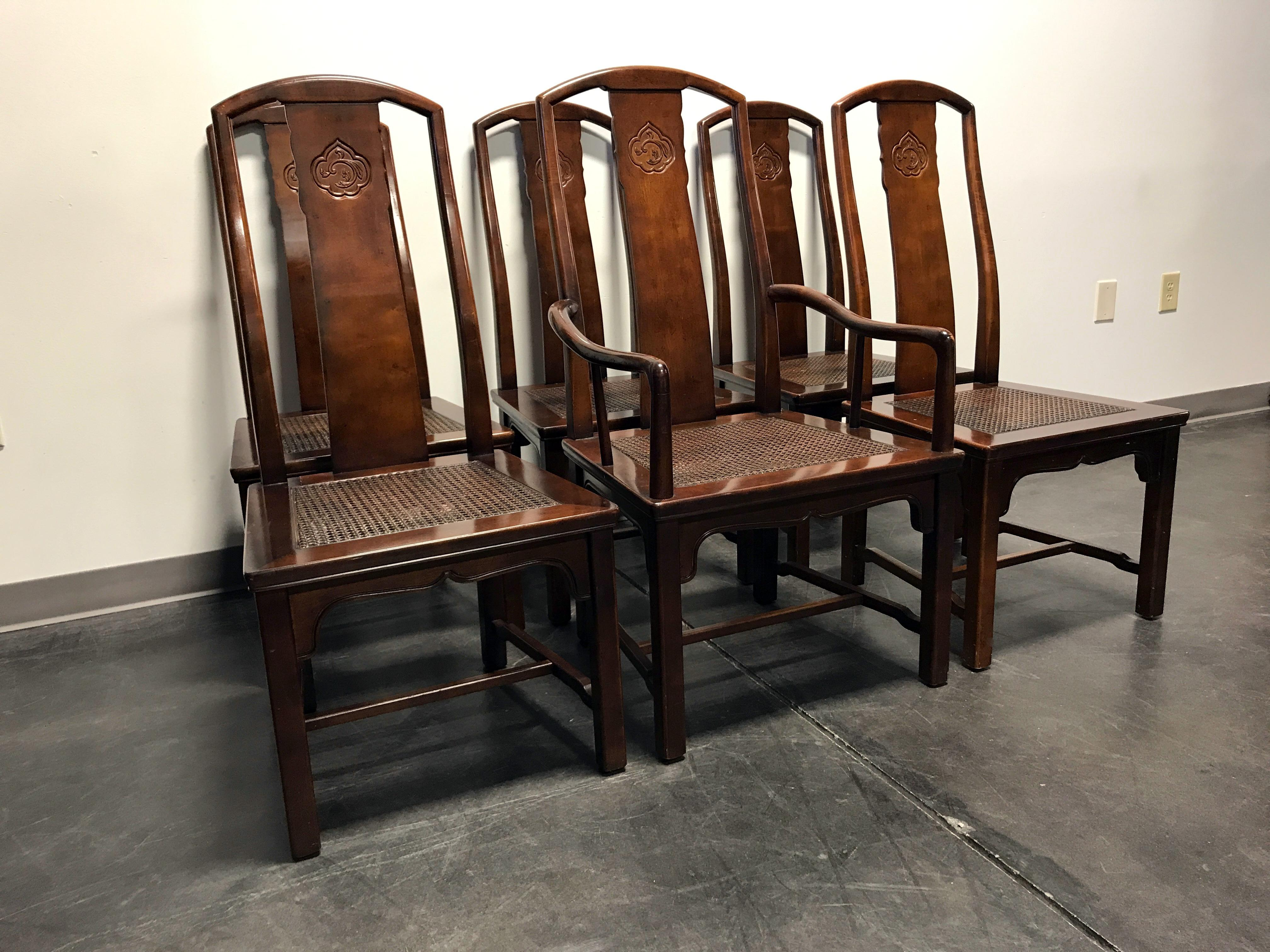 Vintage Henredon Asian Chinoiserie Cane Seat Dining Chairs