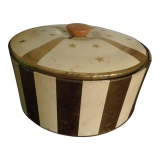 1950s Mid Century Modern Gold & Cream Cake Tin Metal Box Circus Canister For Sale