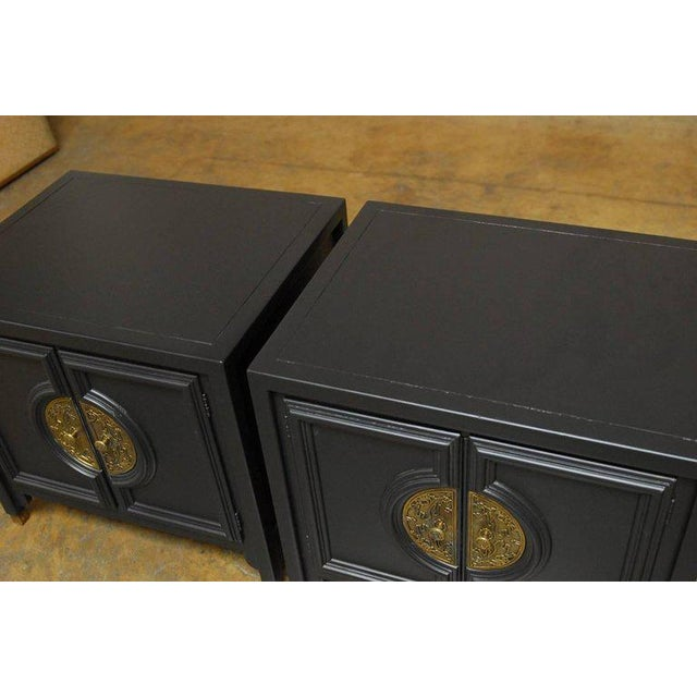 Century Furniture James Mont Style Century Furniture Lacquer Nightstands - a Pair For Sale - Image 4 of 10
