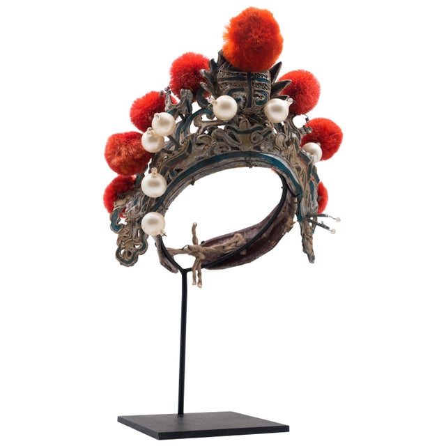 Antique Chinese Theatre Opera Headdress in Turquoise and Coral Colored Pom Poms For Sale In New York - Image 6 of 6