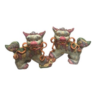 1940s Chinoiserie Colorful Majolica Foo Dogs – a Pair For Sale