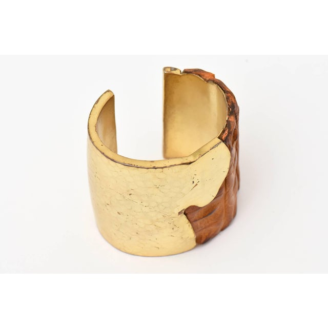 Metal Hammered Brass and Crocodile Leather Cuff Signed Artisan Bracelet For Sale - Image 7 of 10