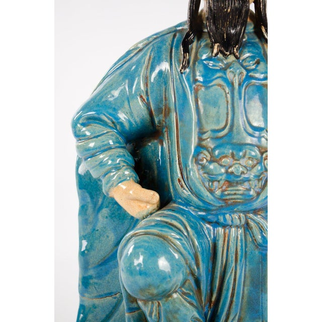 Chinese Ming Dynasty Style Male and Female Porcelain Statues - a Pair For Sale - Image 9 of 13