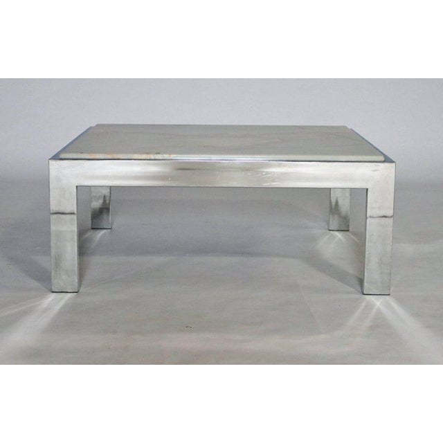 1970s Steel and Marble Cocktail Table For Sale - Image 5 of 6