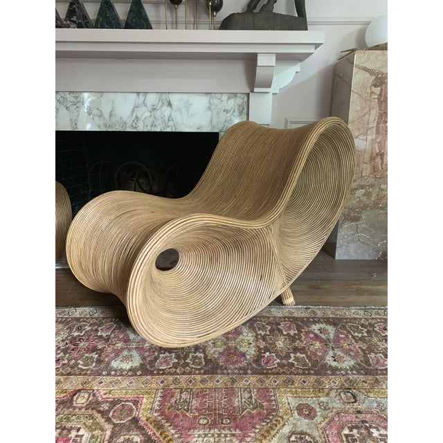 Sculptural Pencil Reed Bamboo Ear Lounge Chair For Sale - Image 9 of 13