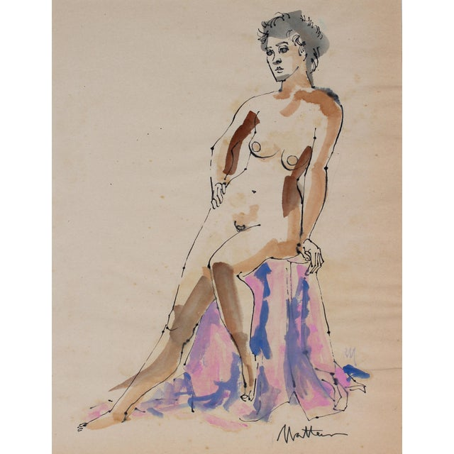 Mid-Century Modern Seated Figure in Watercolor and Ink, 1965 For Sale - Image 3 of 3