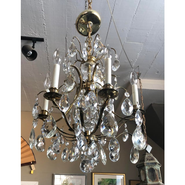 Mid Century Solid Brass Crystal Marie Therese Style French Chandelier 1950s/60s For Sale - Image 13 of 13