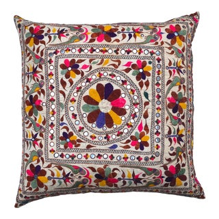 Large Vintage Indian Embroidered Textile Pillow For Sale