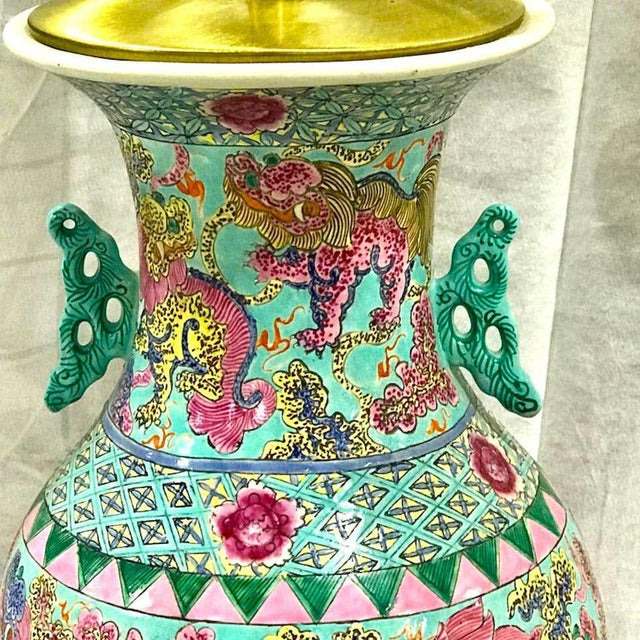 Asian Exquisite Chinese Famille Rose Foo Dog Motif Vase, Now as a Lamp For Sale - Image 3 of 10