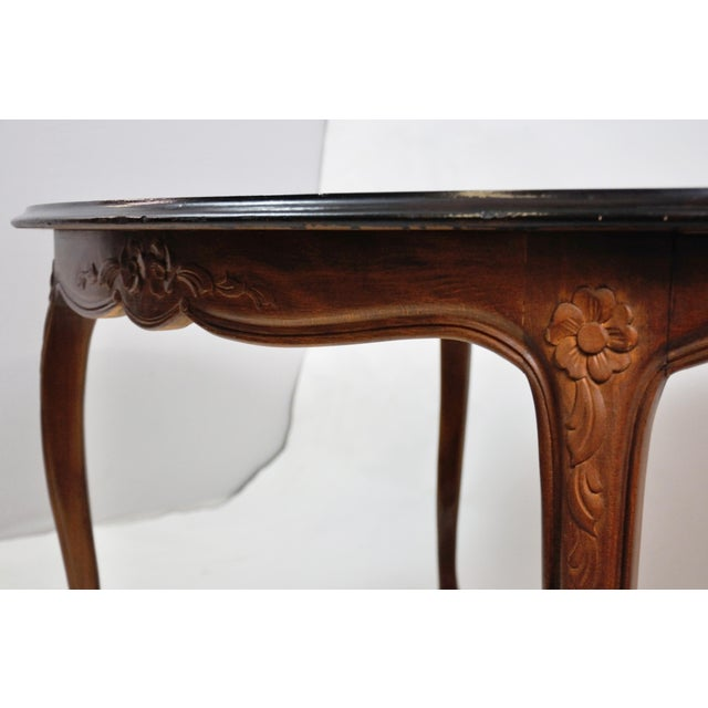 Brown Vintage French Oval Queen Anne Cherry Wood Dining Table Circa 1960 For Sale - Image 8 of 13