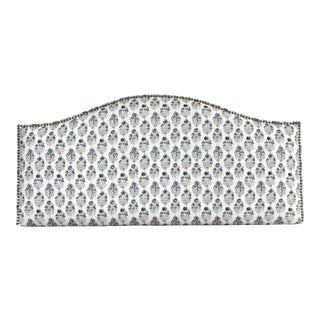 Petite Floral Patterned Upholstered Headboard For Sale