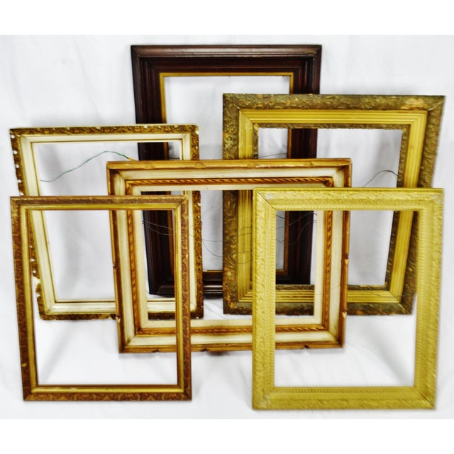 Vintage Medium Sized Wood Picture Frames - Group of 6 Condition consistent with age and history. Some nicks, scratches and...