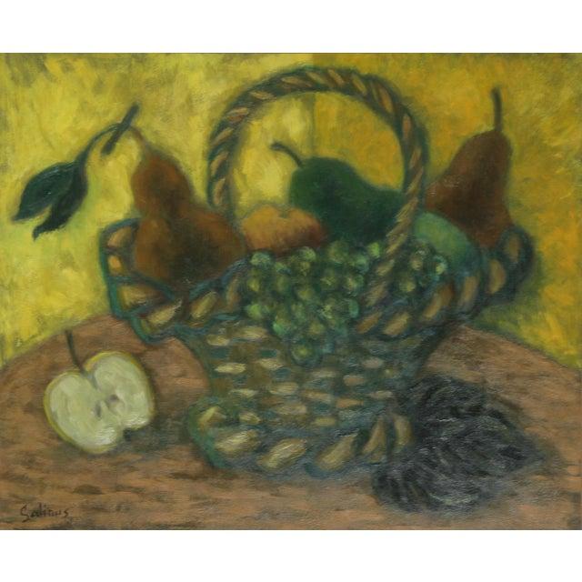 Impressionism Laurent Marcel Salinas, Corbielle De Fruits (411), Oil on Canvas For Sale - Image 3 of 3