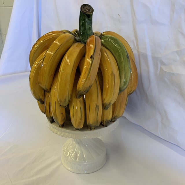Hard to find large bunch of Italian ceramic hand painted bananas on plate. Beautiful color. While it is not signed Italy,...