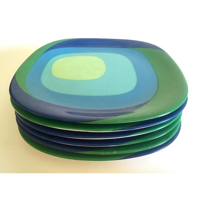 "Vintage Mid Century Modern Rare Block Langenthal Switzerland "" Study in Squares "" Porcelain Dessert Plates - Set of 6 For Sale - Image 9 of 13"