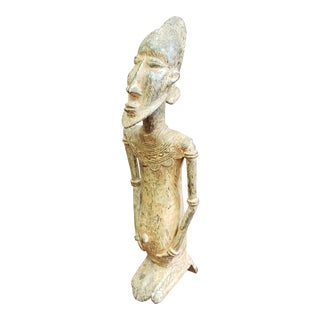Mid 20th Century Kulango Kneeling Male Figure Bronze Sculpture From the Congo For Sale
