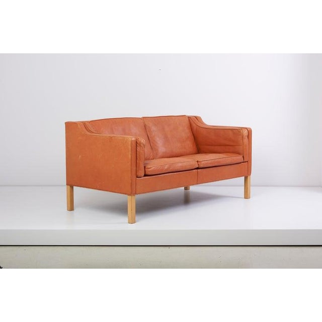 Fantastic early example of the Classic two-seat sofa designed by Børge Mogensen for Fredericia, Denmark, model 2212. This...