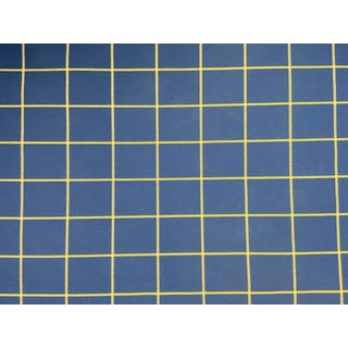 Classic Blue Checks Wool Linen Upholstery Fabric Yardage For Sale