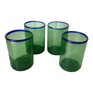 Vintage Blown Glass Green W Blue Rim Tumblers - Set of 4 For Sale