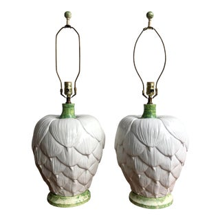 Paul Hanson Ceramic Artichoke Lamps - Pair For Sale