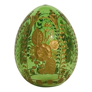 Imperial Green Crystal Egg From the House of Fabergé, St. Petersburg, Russia For Sale