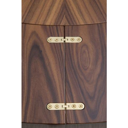FLOOR SAMPLE - Featuring a top in sunburst Santos Rosewood with book-matched folding 2 piece exterior extension leaf,...