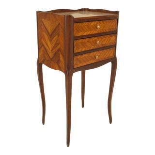 Turn of the Century French Louis XV Style Tulipwood Bedside Commode For Sale