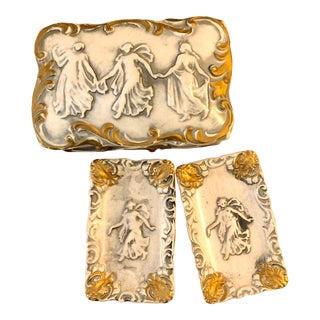 Late 1800s French Bisque Porcelain Gilt Trinket Box With Trays, Three Graces For Sale