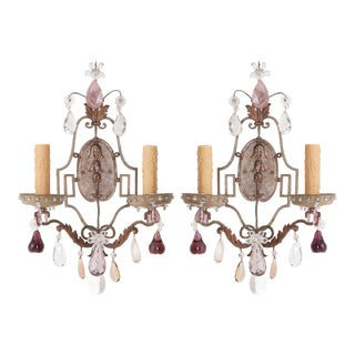 French Painted and Crystal Sconces - a Pair For Sale