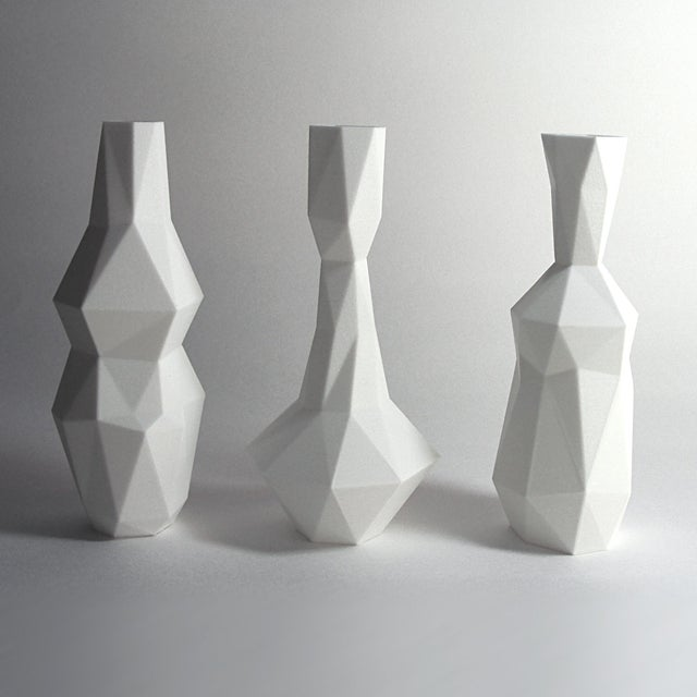 White 3D Printed Cubist Art Vases - Set of 3 For Sale - Image 4 of 5