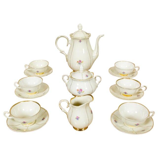 1918-1948 Karlskrona Porcelain Coffee Service for 6 - Set of 15 For Sale