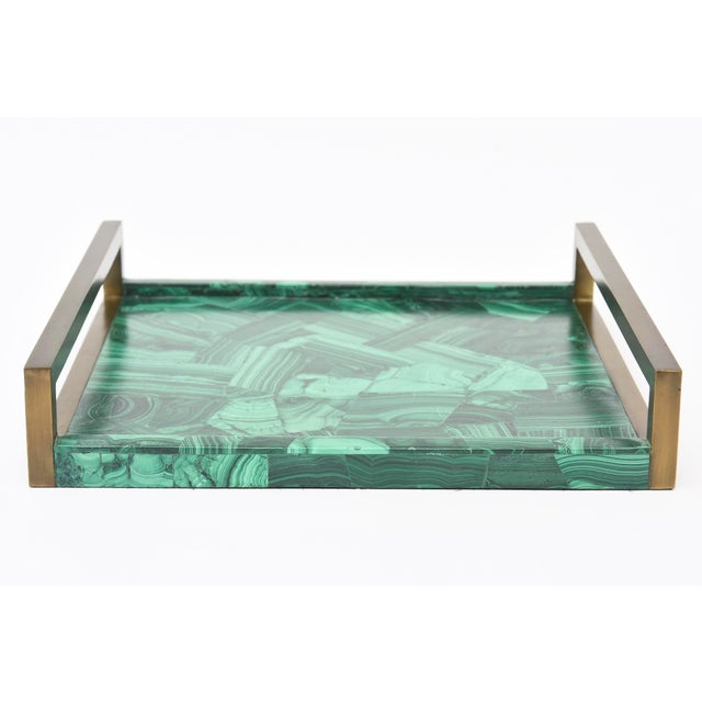 R&Y Augousti Faux Malachite Compostion Wood and Brass Tray For Sale - Image 10 of 10