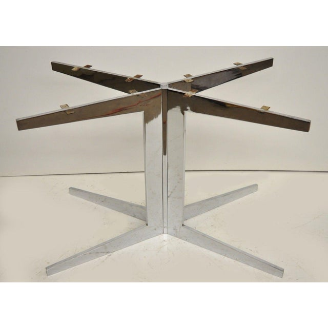 Mid-Century Modern Chrome Steel Double Star Pedestal Dining Table Bases - a Pair For Sale - Image 13 of 13