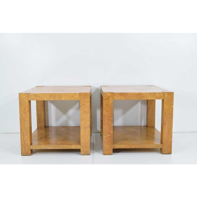 Brown Pair of Milo Baughman Burl Wood End Tables or Nightstands For Sale - Image 8 of 10