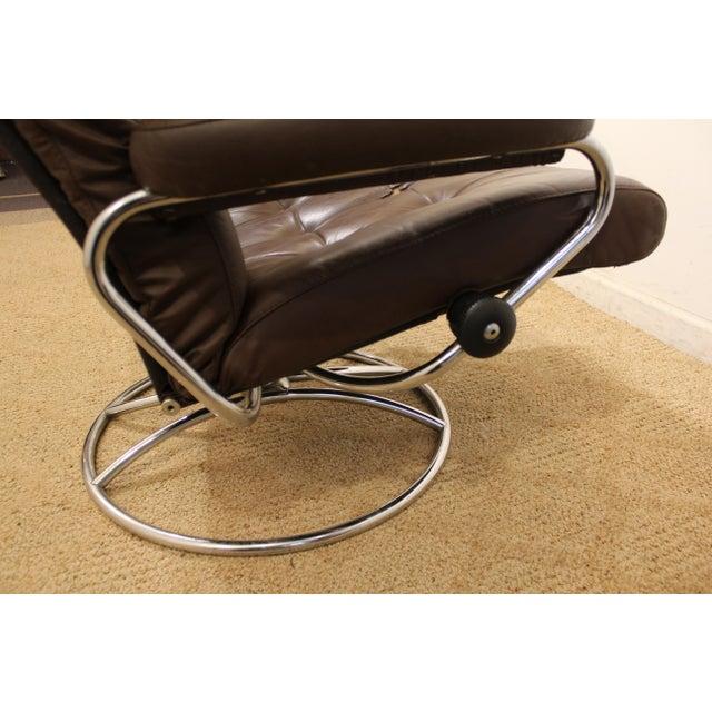Mid-Century Danish Modern Ekornes Stressless Chrome Lounge Chair/Ottoman For Sale - Image 10 of 11