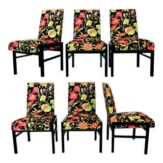 Set of Six Floral Dining Chairs by Directional For Sale