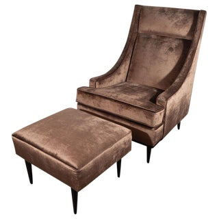 Mid-Century Modern Sleigh Back High Chair and Ottoman in Smoked Bronze Velvet For Sale